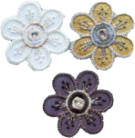 Textilmärke Blommor 3-pack