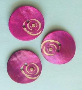 Porslinsknapp 28 mm med Pärla - Porslinsknapp Rosa 28 mm