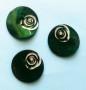 Porslinsknapp 28 mm med Pärla - Porslinsknapp Grön 28 mm