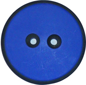 Blå Knapp med svart kant 38 mm -