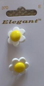 Knappkarta Elegant Prästkragar - Prästkragar 2-pack 19 mm Gul/Vit