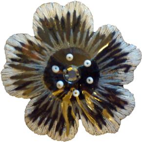 Textilmärke Blomma Svart/Vit/Grå - Textilmärke Blomma Svart/Vit/Grå