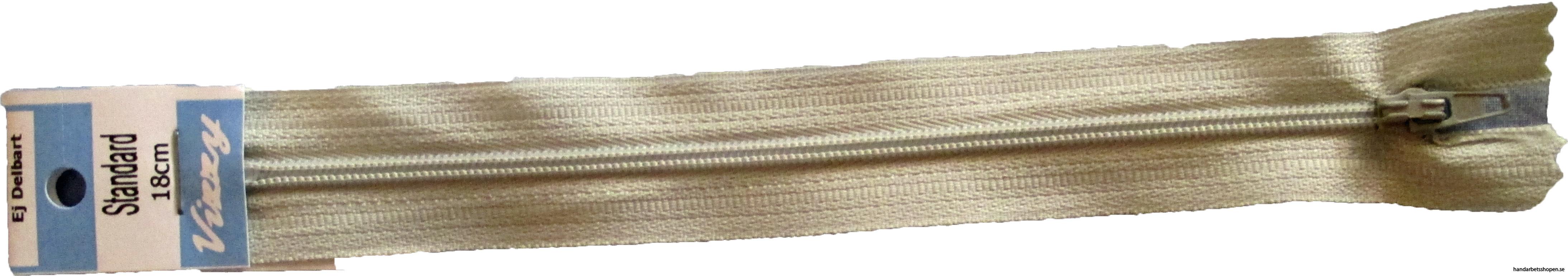 Blixtlås 18 mm Beige