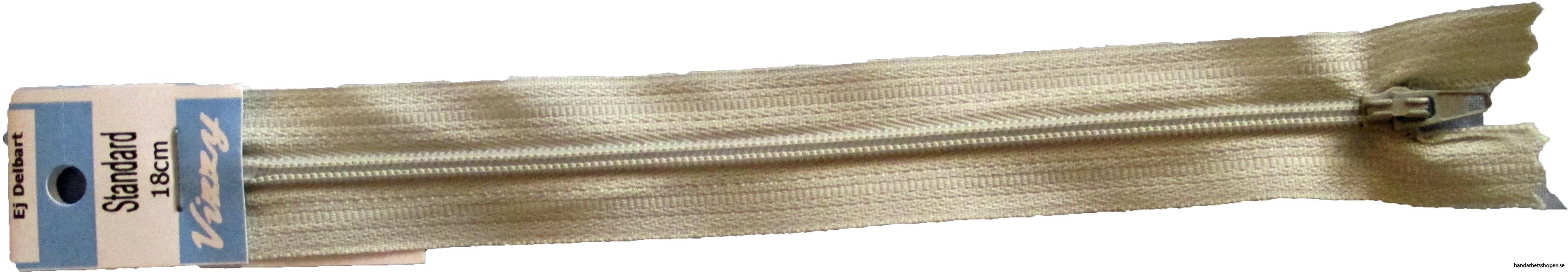 Blixtlås 18 mm ljusgrå