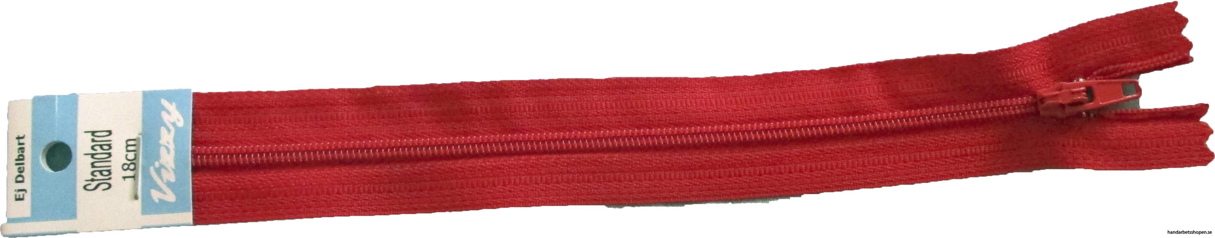 Blixtlås 18 mm Röd