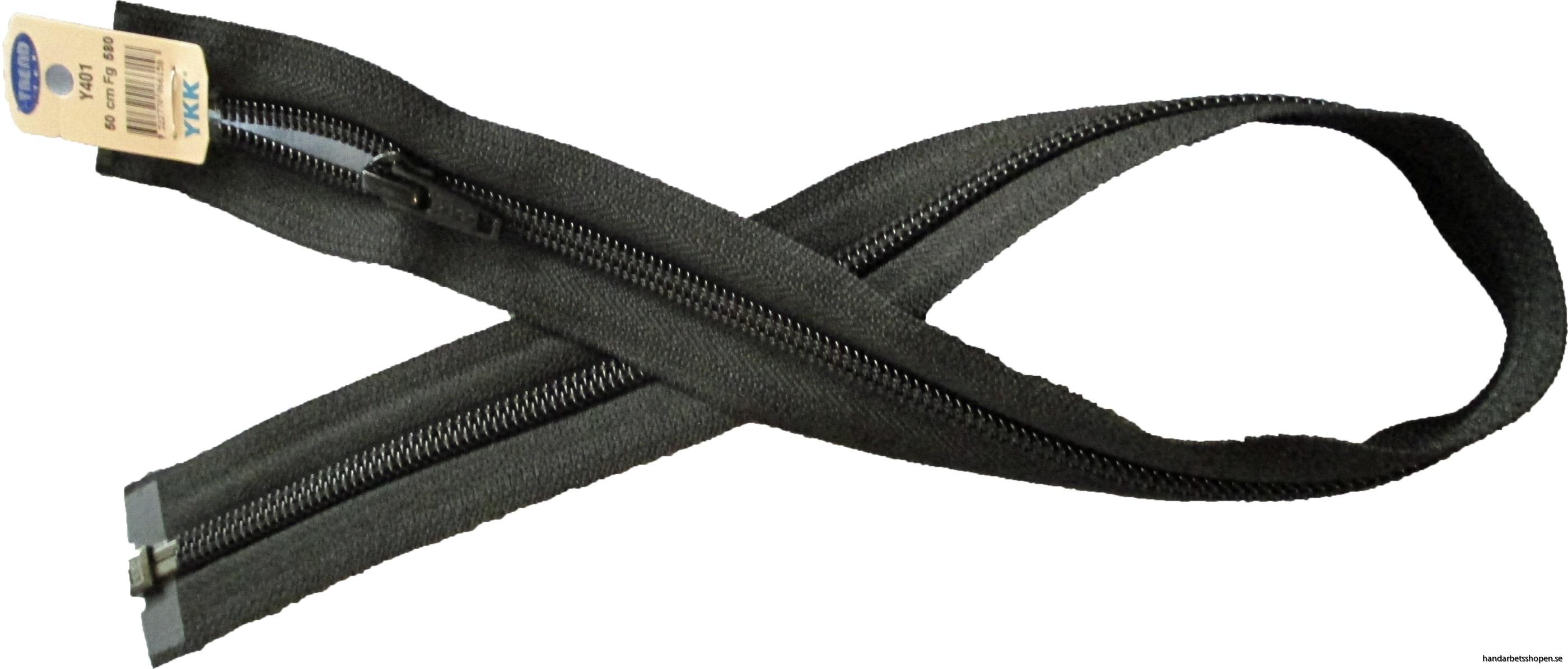 Blixtlås 50 cm svart delbart