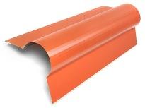 Orange - Rund nock ALU-Specialprofil för tex tak med pannplåt för att få en mjuk övergång på nocken och harmonisera med taket