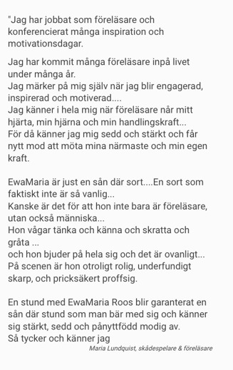 Skådespelare Maria Lundqvist om EwaMaria