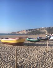 Fiskebåtarna som användes förr står utställda på stranden