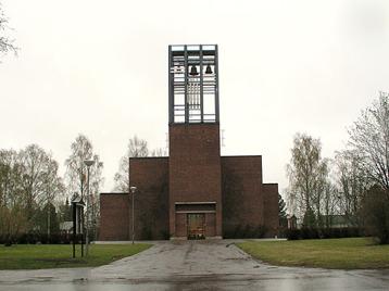 Kyrkan i Norrfjärden är en konsekvent modernistisk skapelse från 1960-talet. Den ersatte den gamla kyrkan som brann ned efter ett blixtnedslag 1963.