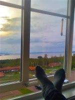 Här vilar jag upp mig efter en dags jobb på Hotell Dalecarlia