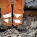 Trött men säker järnvägsarbetare