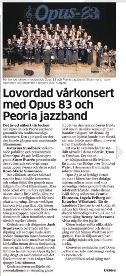 Lovordad vårkonsert med Opus 83 och Peoria jazzband-        i veckans nummer av Alekuriren!