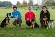 KM vinnare i Hopp. Large Karin Edin och Lukas. Small Isabelle Maijala och Tintin. Medium Karin Holm och Bobby.