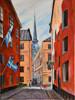 "Konst 0017""Gamla Stan"" Akrylmålning  40x30 cm Pris 990:-."