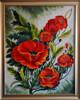"""Konst 0001""""Vallmo"""" Oljemålning med ram 81x65 cm Pris 3900:-."""