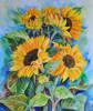 "Konst 0003""Solrosor"" Akrylmålning 55x46 cm Pris 2500:-."