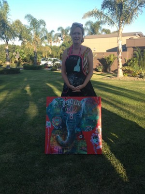 Tracy's final painting (sold to one of the participants!)...