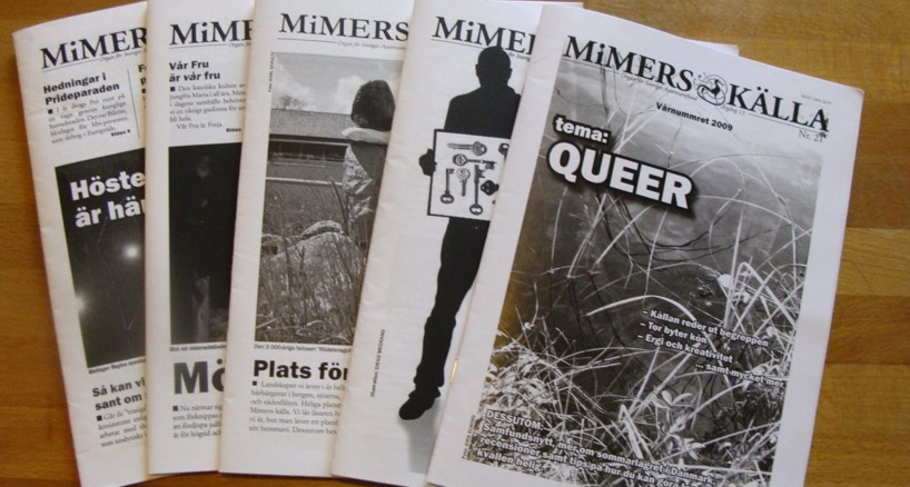 Flera nummer av medlemstidningen mimers Källa