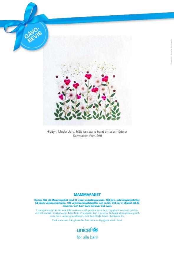 Gåvobevis UNICEF