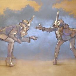 """Ok Listen...No YOU Listen!"", oil on canvas, 90x140 cm, Oil on canvas, SOLD"