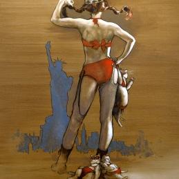 """The Swedish Bikini Team"", oil on canvas, 90x130 cm, Oil on canvas, SOLD"