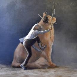 """""""The Cat Whisperer"""", 80x80 cm, Oil on canvas"""