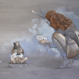 """Ehh...lets see..."", Oil on canvas, 90x130cm SOLD"