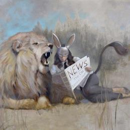 """""""- Any News Honey?"""", 90x130 cm, Oil on canvas"""