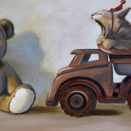 """NOO Teddy, its MY TRUCK!!!"", 32x75 cm, oil on canvas"