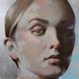 """Present"", 50x70cm, Oil and silver leaf onn canvas"
