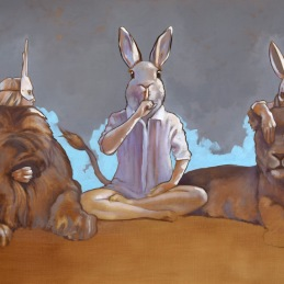 """Hear No Evil, Speak No Evil, See No Evil"", Oil on canvas, 90x150cm, Oil on canvas, SOLD"