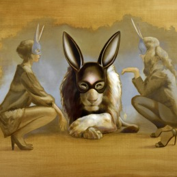 """Three Bunnies"", oil on canvas, 95x130cm"