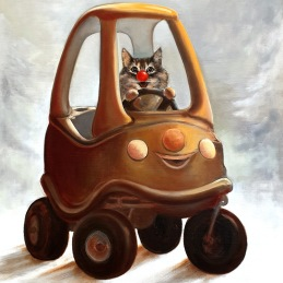 """""""Your uber has arrived"""", oil on canvas, 50x60cm, (Sold)"""