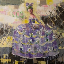 Lady in Graceful Dress, 2013, oil on canvas, 102 x 102 cm