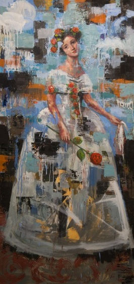 Sweet Lady in White, 2013, oil on canvas, 152,5 x 76 cm