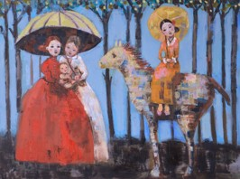 Graces and A Baby, 2012, oil on canvas, 76 x 102 cm