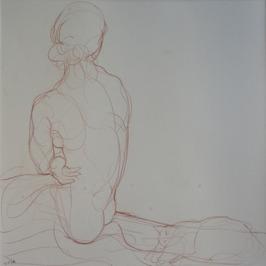 Maud et Poupette 2, 2014, Red iron-oxide crayon on Lana paper, 50 x 50 cm
