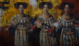 Triple Me after Henri Gascard, oil on canvas, 91 x 152 cm, 2015