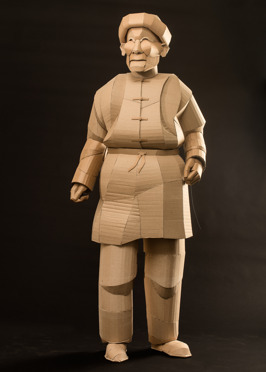 Shaoxing Husband, life-sized, cardboard and glue, 2014