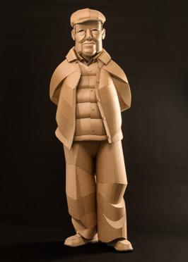 Shaoxing Man with Cap, life-sized, cardboard and glue, 2014, SOLD