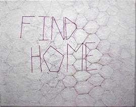 Find Hive, acrylic, graphite, eraser, glue, thread on canvas 33 x 41 cm, 2015