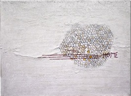 Hive with Home, acrylic, graphite, eraser, thread, paper mounted on canvas, 31 x 41 cm, 2015