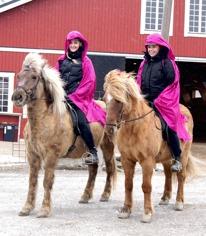 Våra fina ridskolehästar Silverdögg & Naela med bästa ridlärarna Sandra & Amelia.