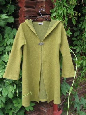 Mossgrön långkofta TARRA med luva