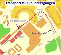 Beskrivning för transporter till Biblioteksgången.