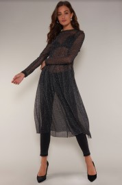Rut&Circle Glitter Mesh dot dress