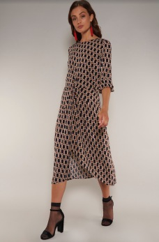 REA Rut&Circle Midi pattern dress - Strl M