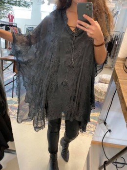 Stail_se silkestunika grå - Onesize grå