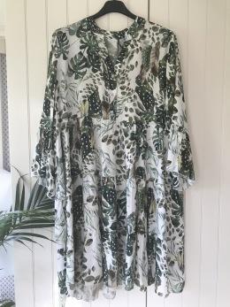Cat&Co vit/grön klänning - Strl 46